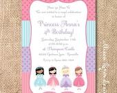 Patchwork Princesses Printable Invitation Princess Birthday Party Little Girl Blonde Princess Brunette Asian Hispanic Black Princess