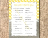 Yellow and Gray Baby Shower Game Printable Chevron Printable Celebrity Baby Match Game - INSTANT DOWLOAD