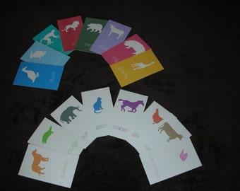 Printable Kid's Animal Flashcards/Tarjetas de Memoria de los Animales para Niños--Bilingual-English/Spanish - INSTANT DOWNLOAD