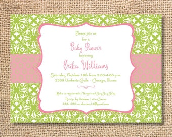 Elegant Pink and Green Tea Party Baby Girl Shower Bridesmaids Luncheon Bridal Shower Lime Green Floral Garden Party Printable Invitation