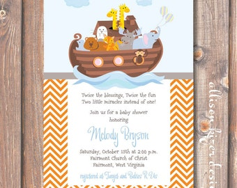 Noah's Ark Twins Baby Shower Twin Boys Invite Orange Chevron Stripes Light Blue Baby Boy Printable Party Invitation
