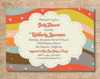 Groovy Boho Baby Girl Rainbow Party First Birthday Hearts Funky Bridal Shower Colorful Baby Shower Invite Printable Invitation