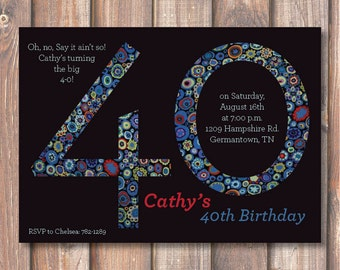 Mod Black Ladies Printable 40th Birthday Invitation 40 Bday Floral Modern Elegant Sophisticated Cobalt Blue Minimalist Forty Birthday