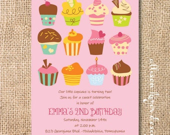 Sweet Cupcakes Birthday Party Printable Invitation Baking Party Whimsical Cupcake Dessert Shower Baby Shower Pink Girly Cooking Party Invite