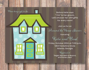 Aqua and Lime Green Polka Dots Couples Shower Housewarming Party Open House Modern Funky Boho Around the House Shower Printable Invitation