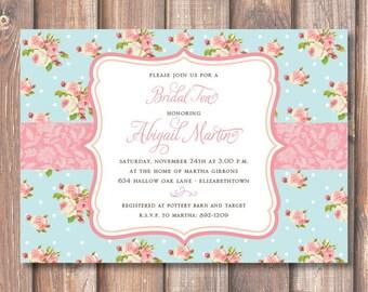 English Garden Bridal Shower Elegant Blue and Pink Floral Roses Baby Shower Bridesmaids Luncheon Bridal Tea Printable Invitation
