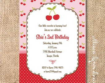 Sweet Cherry Printable Invitation Birthday Party Cherries Baby Shower Pink and Red Baby Girl First Birthday Polka Dots Summer Baby Shower
