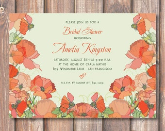 Red Poppies Printable Bridal Shower Invitation Coral Red Floral Invite Printable Baby Shower Baby Girl Poppy Red Bridesmaids Luncheon