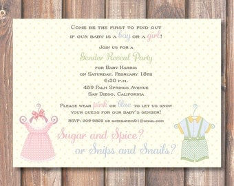 Gender Reveal Invite - Sugar and Spice or Snips and Snails - Vintage Style Twins Baby Shower Boy Girl - Old Fashioned Classic Baby Shower