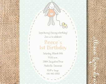 Mint and Peach Baby Shower Invitation Gender Neutral Sweet Bunny Printable Invitation Bunny Rabbit First Birthday Printable Invite Aqua