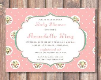 Pink Lamb Invitation Baby Shower Baby Girl Retro Vintage Little Lamb Printable Invite First Birthday Party 1st Communion Christening