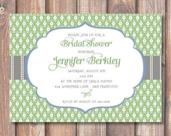 Sage Green Elegant Baby Shower Invitation Pointelle Green Floral Bridal Shower Printable Invite Birthday Party Grass Green Grey Gray Blue