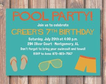 Boys Pool Party Swimming Birthday Invitation Hip Pool Party Printable Invitation Funky Boho Pool Party Masculine Little Boys Birthday Boyish