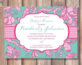 Boho Teal & Hot Pink Flourish Printable Invitation Floral Turquoise and Fuchsia Baby Shower Bridal Shower Funky Bright Colorful Baby Girl