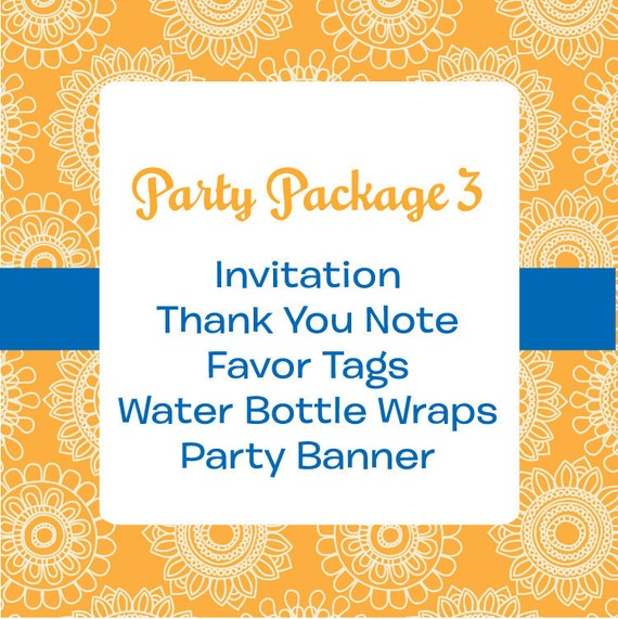 Party Package 3 - Printable Invite, Thank You, Favor Tags, Party Banner, & Water Bottle Wraps