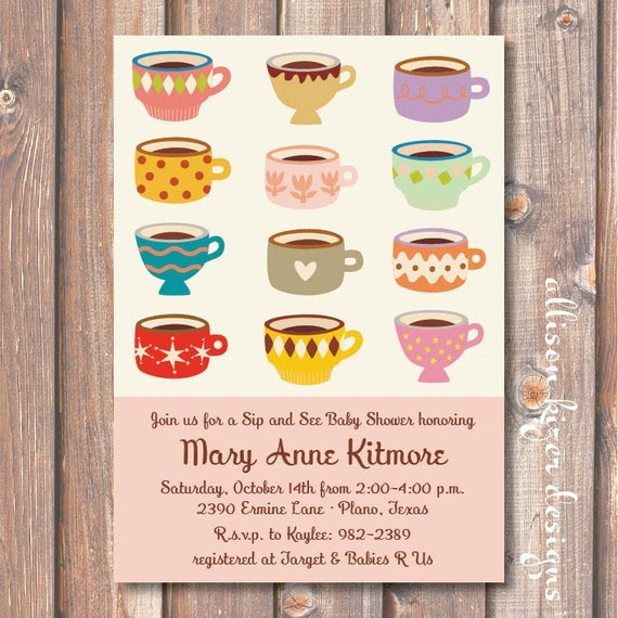 Baby Shower Coffee Invite Retro Printable Boho Tea Party Invitation Mod Teacups Birthday Party Baby Girl Sip and See Shower Blush Pink Ivory