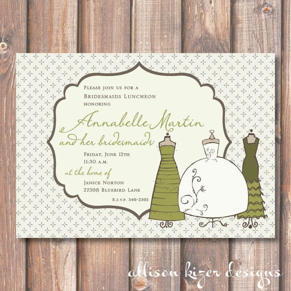 Whimsical Dresses Printable Invitation-Customize Dress Color