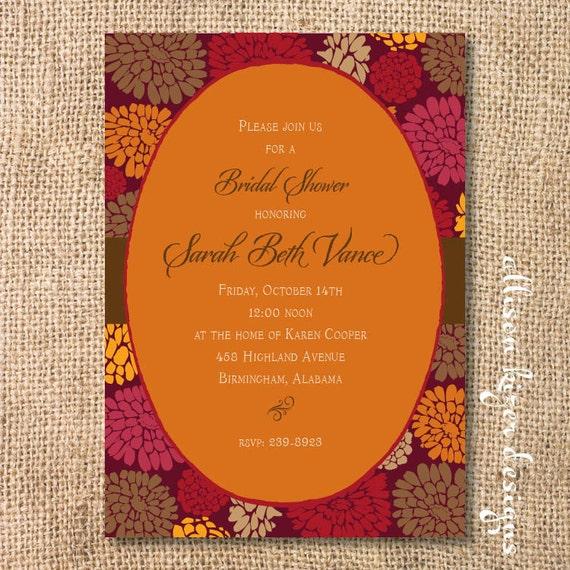 Elegant Fall Bridal Shower Invitation Fall Mums Printable Invitation Baby Shower Ladies Luncheon Autumn Mums Bridal Tea Fundraiser Invite