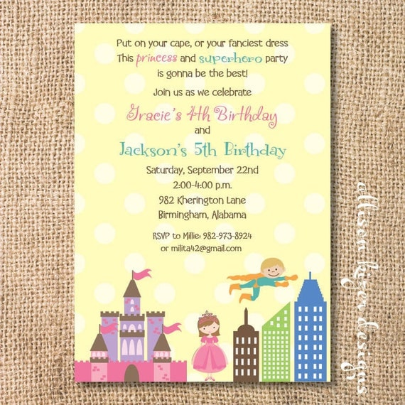 Superhero & Princess Kids Birthday Party Boy Girl Twins Birthday Printable Invitation - Blonde, Brunette, and Hispanic Options Available