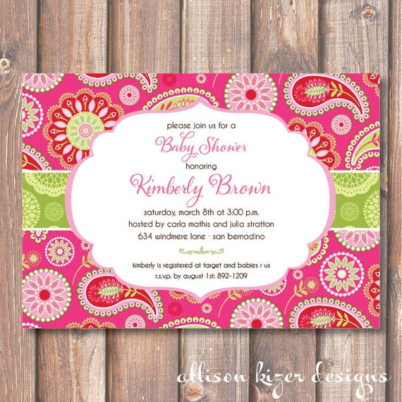 Bright and Colorful Pink and Green Baby Shower Invitation Printable Hot Pink & Lime Paisley Printable Invitation Bridesmaids Luncheon