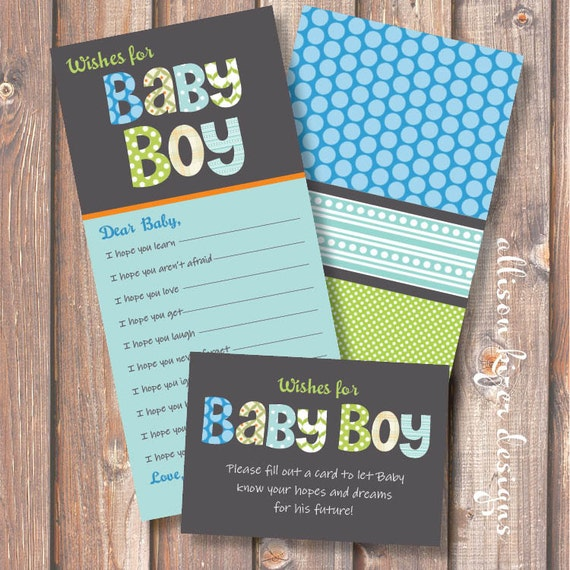 Printable Baby Shower Game - Funky Baby Boy Letters Wishes for Baby - INSTANT DOWLOAD