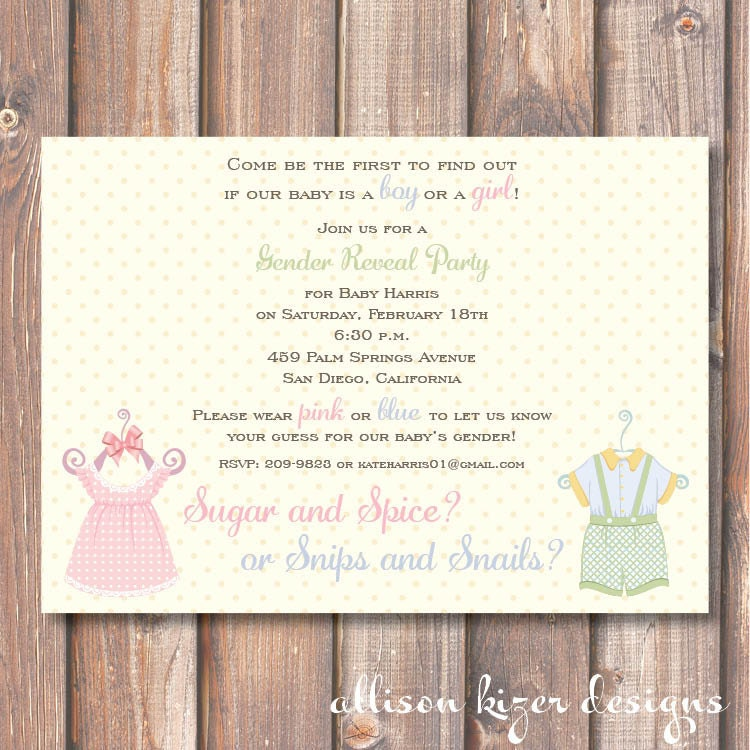 Gender reveal invite sugar and spice or snips and snails zoom stopboris Images