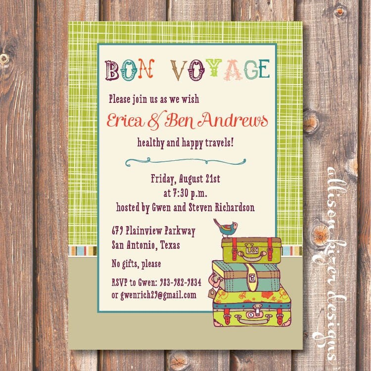 Boho Going Away Party Invite Printable Lime Green Suitcases
