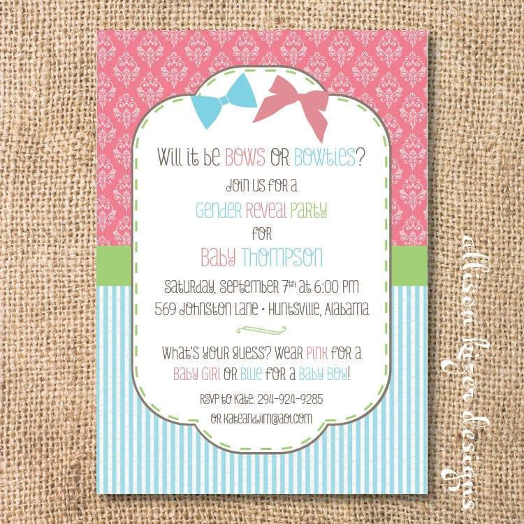 Gender Reveal Invitation Bows or Bowties Bow or Beau Printable – Baby Gender Reveal Party Invitations