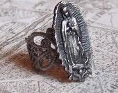 Virgin of Guadalupe filigree ring