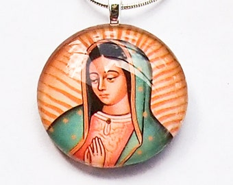 Our Lady of Guadalupe round or oval glass pendant