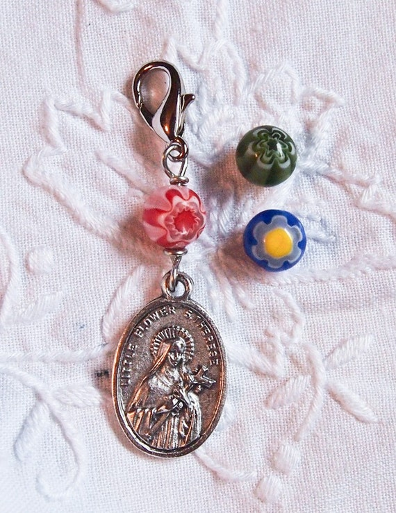 Saint charm or rosary marker with milliflora bead