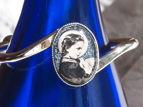 St. Maria Goretti silver bracelet (pink or blue)