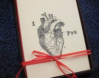 i heart you- card set of 4 // valentine