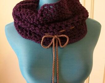 Purple Cowl- crochet neckwarmer scarf
