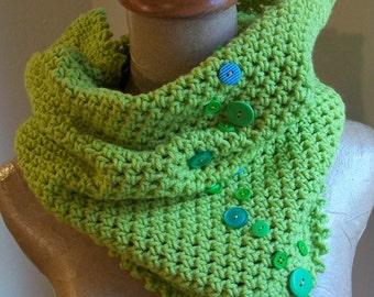 green cowl scarf // crochet neckwarmer // large // acid green