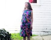 1960s dress Alice Polynesian design Cute Early 60s Shift dress M/L