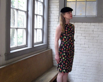 1960s dress Lanz dress Cotton CUTE Black with Bright Floral pattern