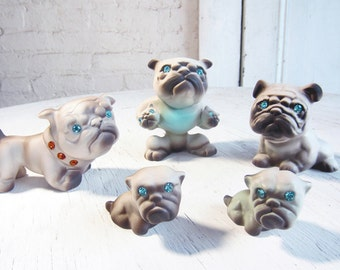 1950s Family of PUGS  Roselane Pottery California Entire Family 50s Pug Dog Figurines rhinestone  Sparkle blue eyes