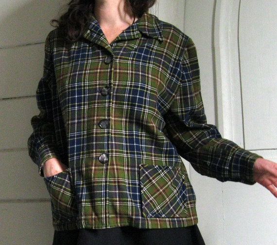 1940s 50s 49er jacket ladies PENDLETON  medium large green plaid GREAT COLORS