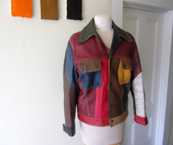 1960s mens leather PATCHWORK jacket MEDIUM Mexico Rugged