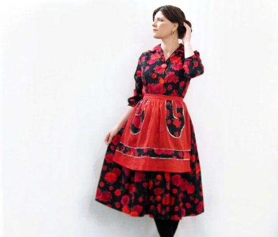 50s Dress and Apron Cotton Black with Red Roses  Darling set 1950s shirt waist dress matching apron M/L