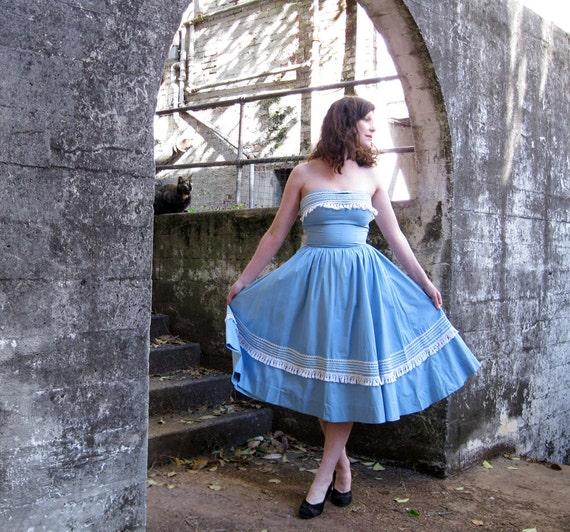 1950s dress and bolero jacket DREAMY cotton blue with white fringe 50s dress SPANISH style Spring S
