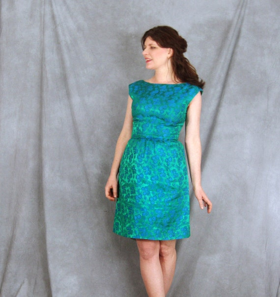 1960's dress Silk satin Brocade FLORAL green and blue Early 60s dress LOVELY M