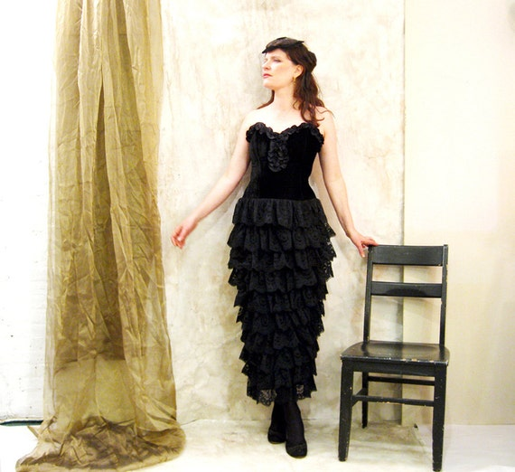RESERVED Do NOT Purchase Cheesie 6878 Party Dress  VICTORIAN Style black velvet and tiered lace Rayon/Silk Magnificent