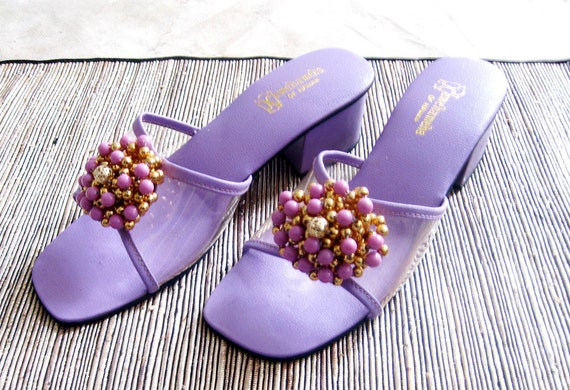 1960s sandals 60s shoes Kamehameha Hawaii Purple and Gold beaded Clear plastic new Tags size 8
