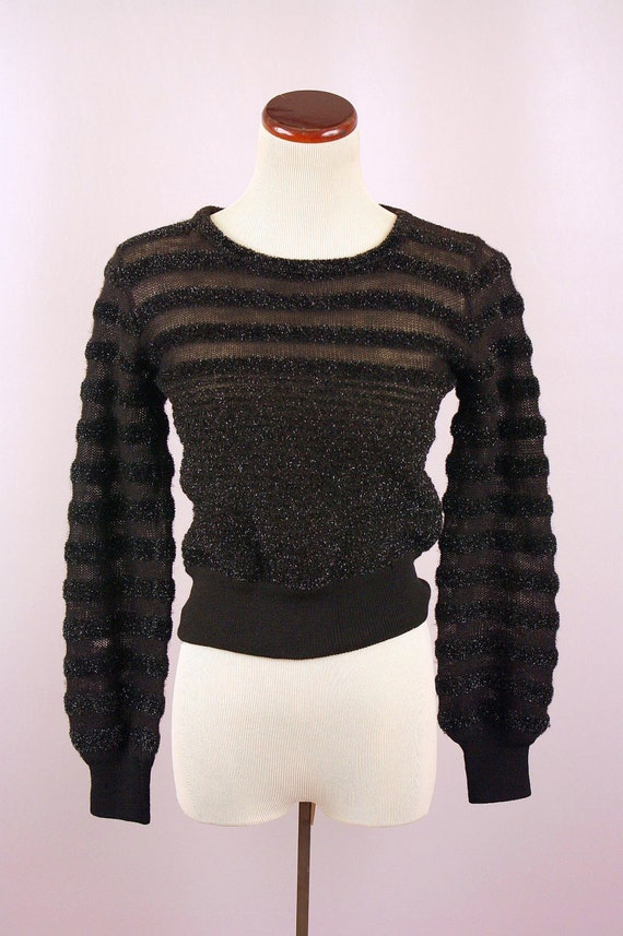 Yves Saint Laurent // 1970s puff sleeve sweater // disco doll sparkler