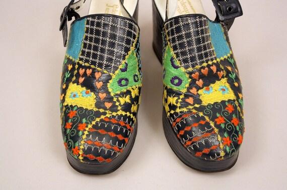 Vintage 1970s Platform Shoes Edouard Jerrold Embroidered Patchwork Slingback Shoes