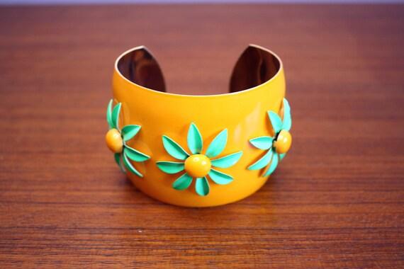 vintage cuff bracelet / 1960s metal enamel flowers / giant mod orange cuff