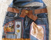 Eco Art Israel - Upcycle JEANS / denim BAG / tote with applique and decorative buttons,  lined, in Blue Brown,orange, gold