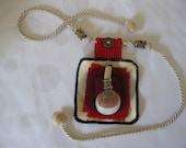 Israel upcycle art jewelry - CHOKER NECKLACE. Textile / fabrics leftovers in Red, Cream, Black plus Sea Shells & Beads decorations. Nautical
